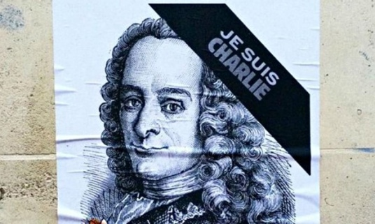 Voltaire on a Je suis Charlie poster